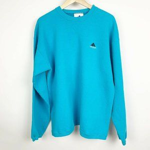Vintage 90s Adidas Blue Teal Mens Womens Crewneck